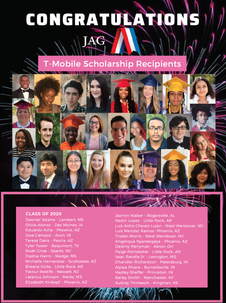 Poster showing all T-Mobile scholarship winners.